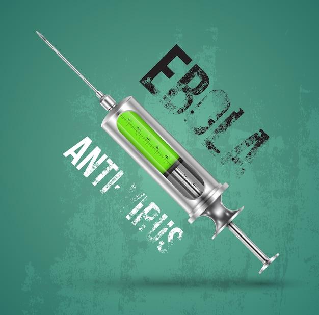 Syringe realistic style for anti virus ebola