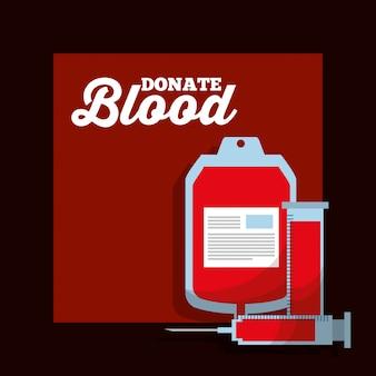 Syringe test tube iv bag donate blood event poster