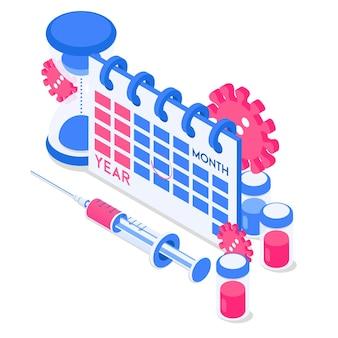 注射器ウイルスワクチン砂時計とカレンダーアイコン等角投影スタイルのベクトル図
