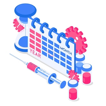 Syringe virus vaccine sand watch and calendar icons vector illustration in isometric style