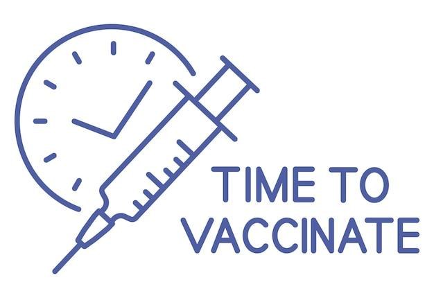 タイマー付きシリンジ。予防接種スケジュールの線のアイコン。予防接種の時間です。免疫化の概念。ヘルスケアと保護。パンデミックコロナウイルスを止めなさい。抗ウイルス医療の概念。ベクター