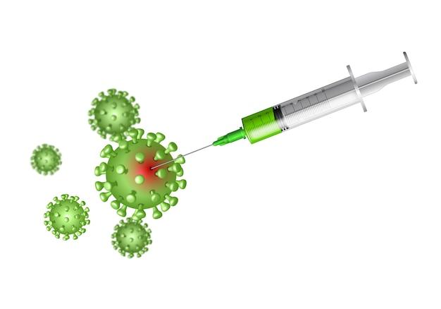 Syringe with vaccine killing coronavirus, rotavirus or influenza virus cells.