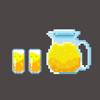 Syrup beverage set with pixel art style