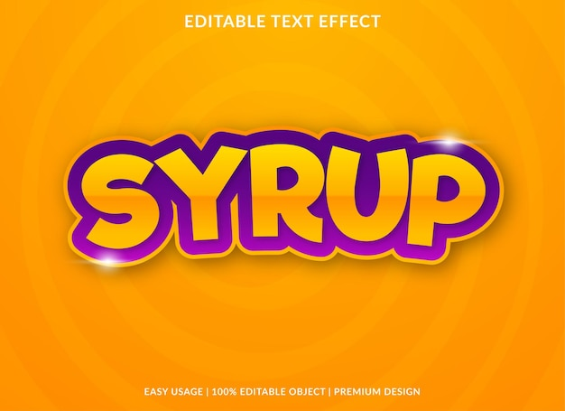 Syrup text effect template use for business logo and brand premium style