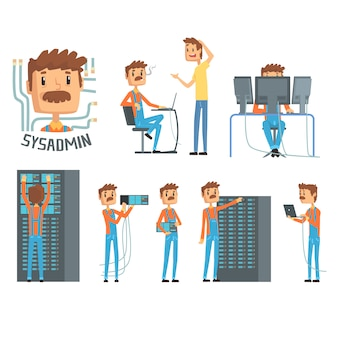 Sysadmin, network engineer characters, set of network diagnostics, users support and server maintenance cartoon  illustrations
