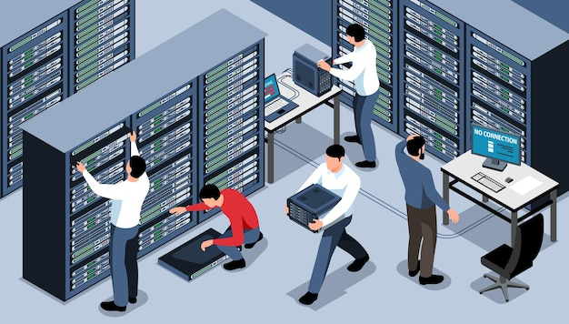 Sysadmins working at data center fixing problems with internet connection horizontal isometric