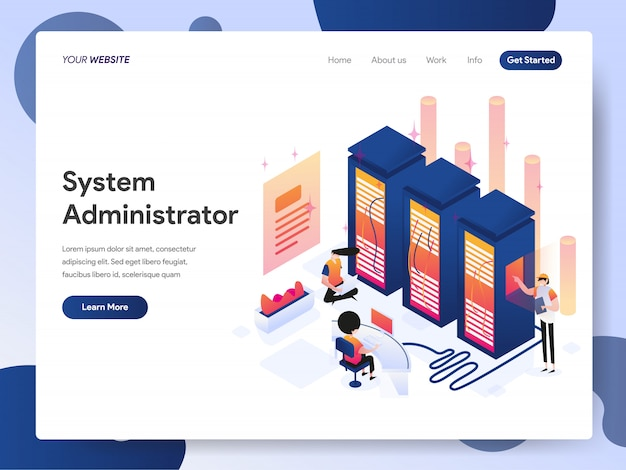 System administrator banner of landing page