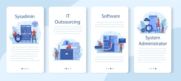 System administrator mobile application template set.