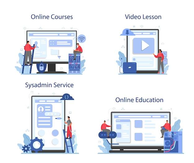 시스템 관리자 온라인 서비스 또는 플랫폼 세트.