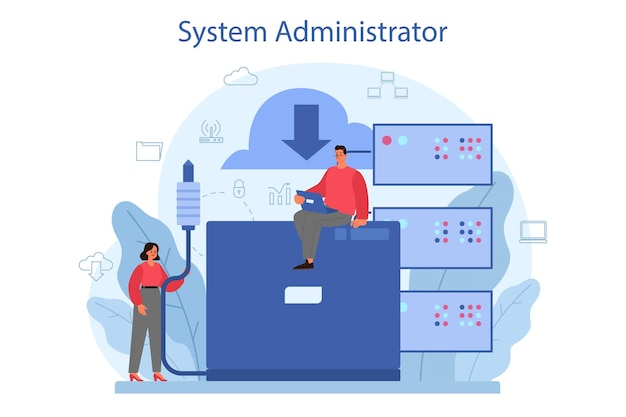 System administrator. people working on computer and doing technical work with server. configuration of computer systems and networks.
