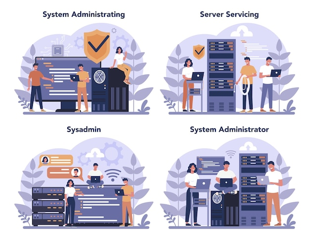 System administrator set. people working on computer and doing technical work with server. configuration of computer systems and networks. isolated flat vector illustration