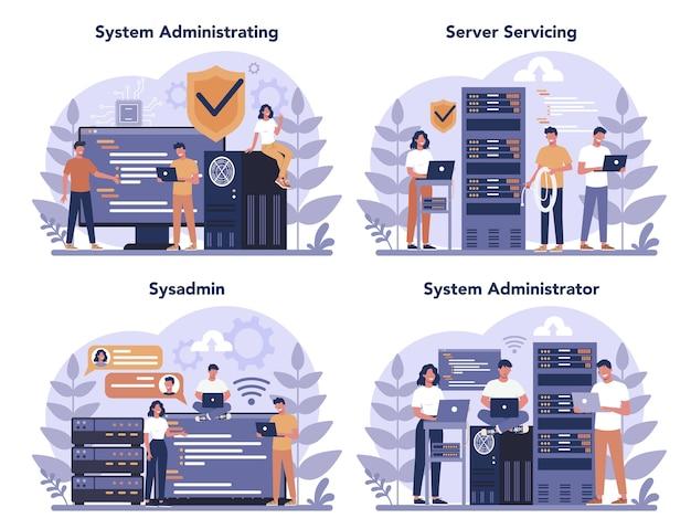 システム管理者セット。コンピューターで作業し、サーバーで技術的な作業をしている人。コンピュータシステムとネットワークの構成。孤立したフラットベクトル図