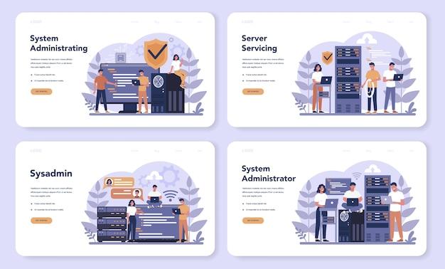 System administrator web banner or landing page set