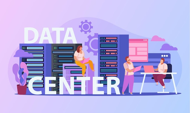 System administrators working in data center flat composition