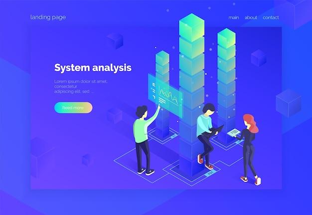 시스템 분석 한 그룹의 사람들이 데이터 시스템과 상호 작용하고 통계 정보를 수신합니다.