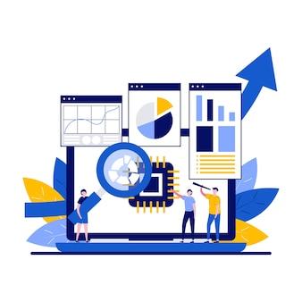 Концепция системного анализа с характером. люди и экран ноутбука с графиками анализа данных и абстрактными диаграммами. бизнес-анализ, исследование рынка, метафора тестирования продукта.