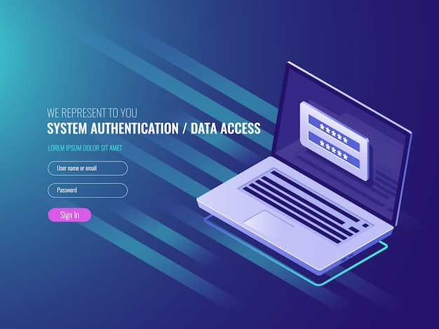 System of authentication, data access, user login form on laptop screen