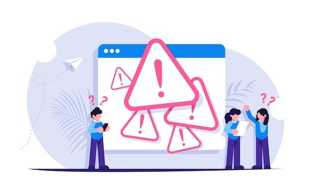 Концепция системной ошибки. люди стоят возле открытой вкладки браузера с ошибкой. Premium векторы