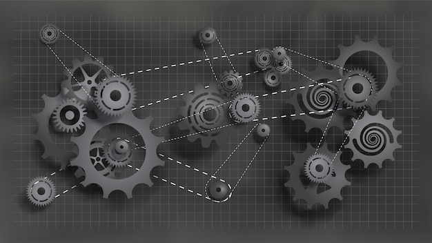 System of gears and cogs working with chain. dark black gears and cogs on chalkboard