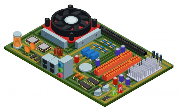 System plate for pc isometric illustration with semiconductor elements slots microchips capacitors diodes transistors