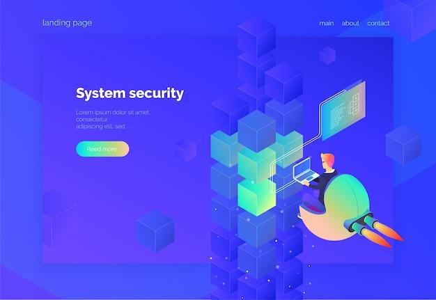 웹용 시스템 보안 랜딩 페이지 노트북을 가진 남자가 디지털 프로세스를 모니터링합니다.