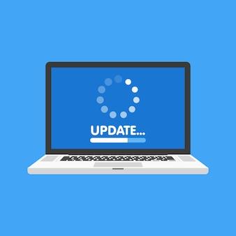 システムソフトウェアの更新とアップグレードの概念。ノートパソコンの画面にプロセスを読み込んでいます。図。