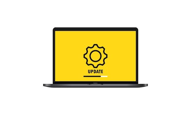 システムソフトウェアの更新とアップグレードの概念。ノートパソコンの画面にプロセスを読み込んでいます。ノート。孤立した白い背景の上のベクトル。 eps10。