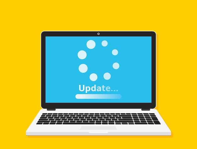 System software update concept. loading process on laptop screen. vector illustration.