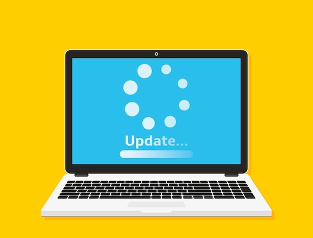 システムソフトウェアの更新の概念。ノートパソコンの画面にプロセスを読み込んでいます。ベクトルイラスト。