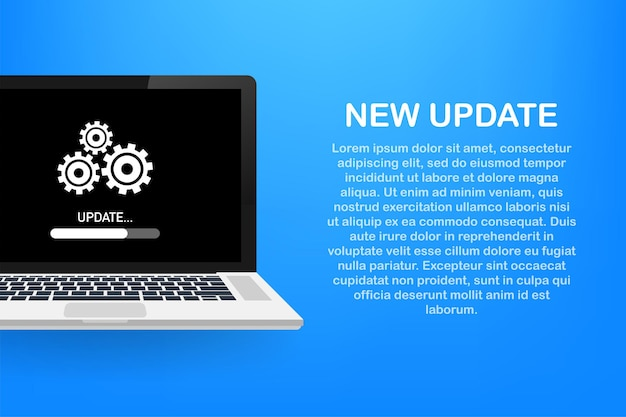System software update, data update or synchronize with progress bar on the screen. vector illustration.
