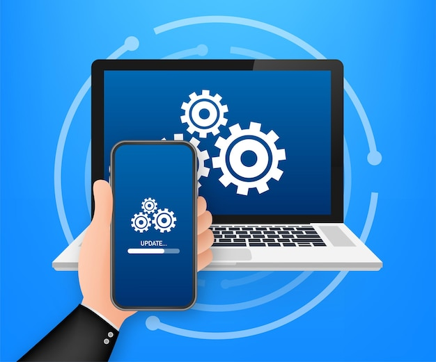 System software update, data update or synchronize with progress bar on the screen. vector illustration. Premium Vector