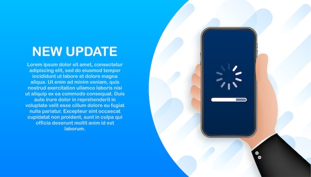 System software update, data update or synchronize with progress bar on the screen Premium Vector