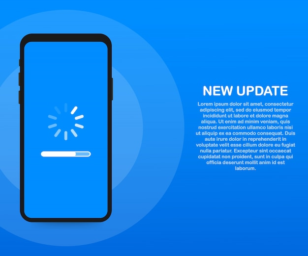 System software update, data update or synchronize with progress bar on the screen.
