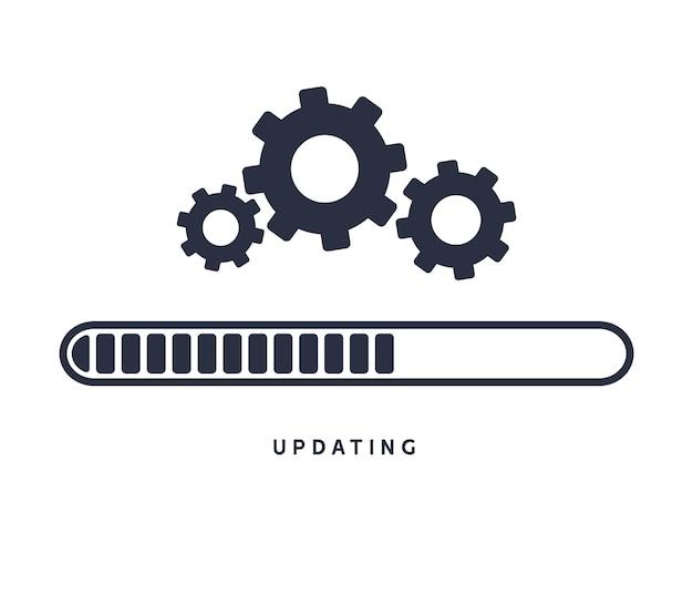 시스템 소프트웨어 업데이트 또는 업그레이드. 응용 프로그램 로드 프로세스 기호 웹 화면입니다. 벡터 컴퓨터 기술입니다.