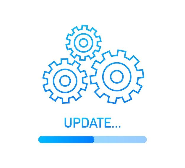 시스템 소프트웨어 업데이트 또는 업그레이드. 배너 새 업데이트, 배지, 기호입니다. 벡터 일러스트 레이 션