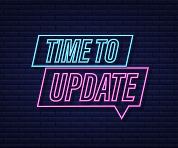 システムソフトウェアの更新またはアップグレード。バナーの新しい更新。更新する時間。ネオンアイコン。ベクトルイラスト。