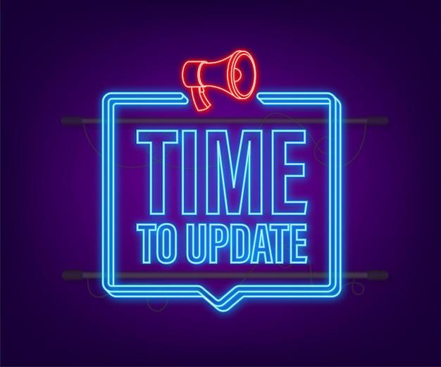 시스템 소프트웨어 업데이트 또는 업그레이드. 배너 새로운 업데이트. 업데이트할 시간입니다. 네온 아이콘입니다. 벡터 일러스트 레이 션.