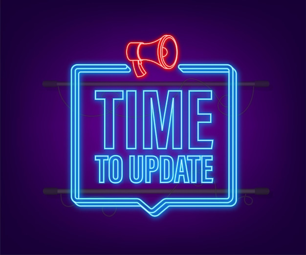 System software update or upgrade. banner new update. time to update. neon icon. vector illustration.