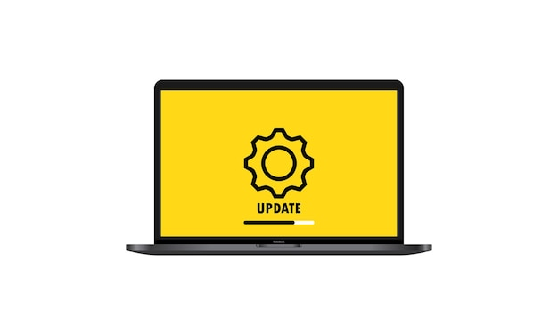 System software update and upgrade concept. loading process in laptop screen. notebook. vector on isolated white background. eps 10.