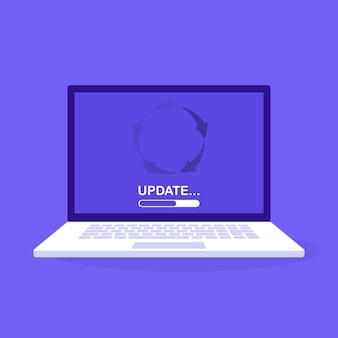 System software update and upgrade . loading process in laptop screen. modern  illustration