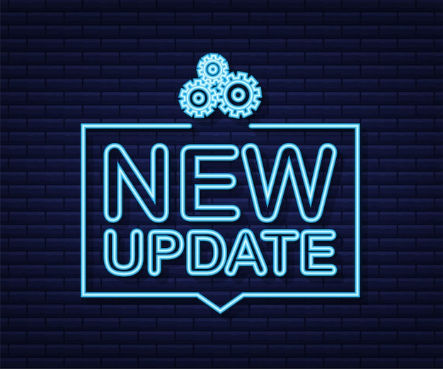 System software update or upgrade neon icon. banner new update, badge, sign. vector illustration.