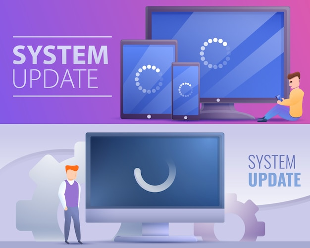 System update banner set, cartoon style