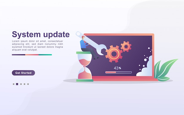 System update concept. the process of upgrading to system update, replacing newer versions and installing programs. can use for web landing page, banner, mobile app.