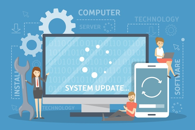 System update concept. software upgrade process. message