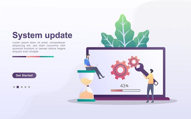 システム更新の概念。システムアップデートへのアップグレード、新しいバージョンの置き換え、プログラムのインストールのプロセス。