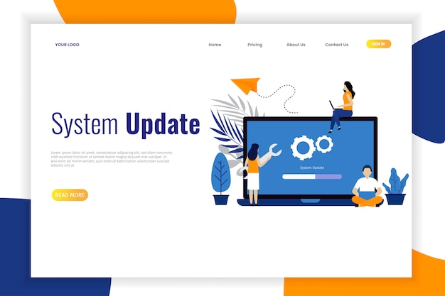 System update flat design with people