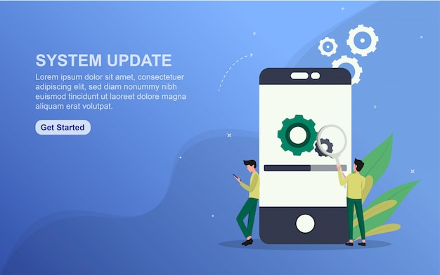 System update landing page template. flat design concept of web page design for website.