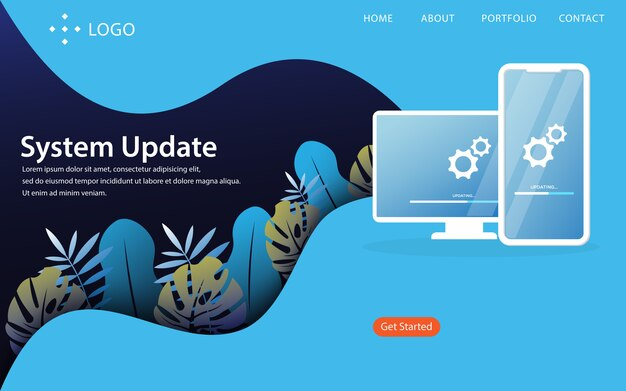 System update, landing page vector illustration concept