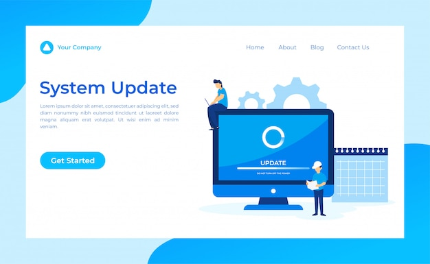 System update landing page