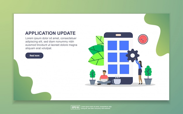 System update, mobile app and app development landing page